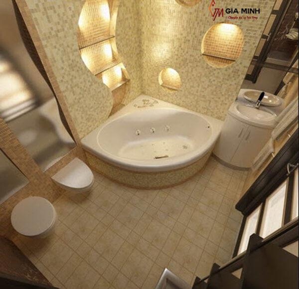 Bồn tắm xây kiểu góc phù hợp với không gian phòng tắm nhỏ
