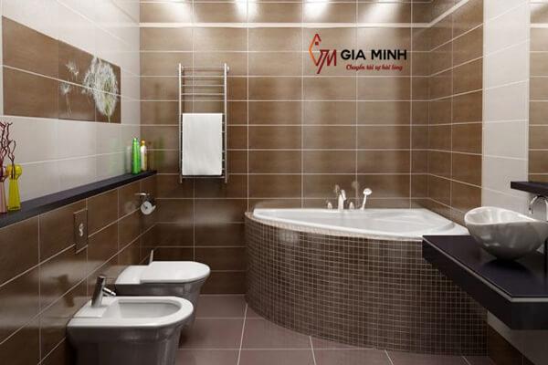 Hình ảnh bồn tắm xây kiểu góc sau khi lắp đặt